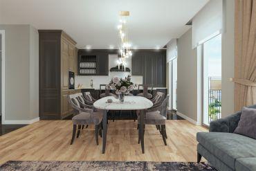 Городская квартира с большим обеденным столом и стильным дизайном.